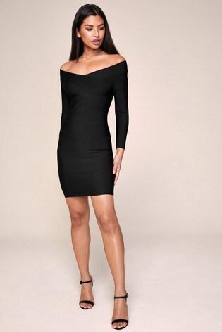 Lipsy Long Sleeve Bardot Bandage Dress