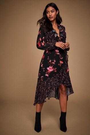 Lipsy Ruffle Wrap Midi Dress