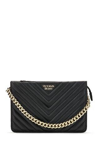 Victoria's Secret Black Pebbled V-Quilt 24/7 Crossbody