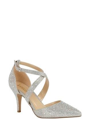Lotus Silver Diamanté Heeled Occasion Shoes