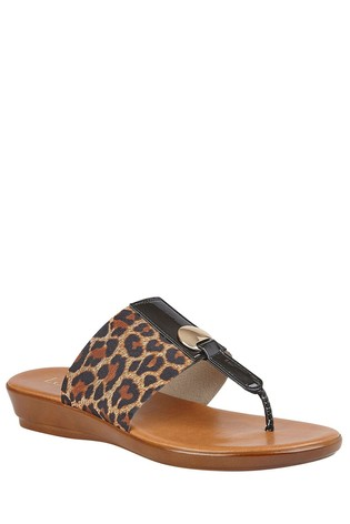 Lotus Brown Comfort Toe Post Wedge Sandal