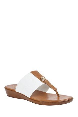 Lotus White Comfort Toe Post Wedge Sandal