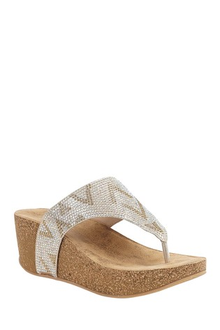 Lotus Cork Effect Wedge Sandals