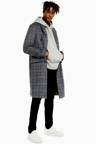 Topman Double Breasted Check Coat