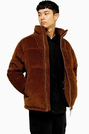 Topman Dark Brown Corduroy Padded Jacket