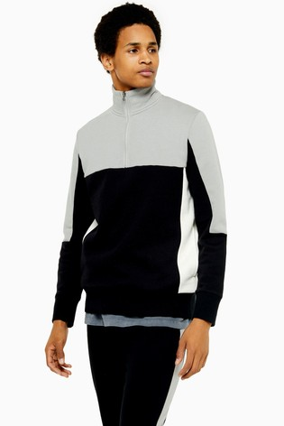 Topman Panel Long Sleeve Sweatshirt