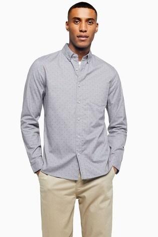 Topman Grey Stretch Skinny Oxford Shirt