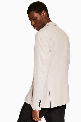 Topman Grey Skinny Fit Notch Lapels Jersey Single Breasted Blazer