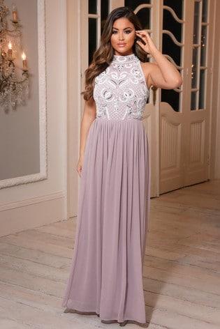 Sistaglam Embellished Halter Neck Maxi Dress