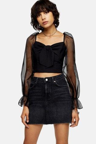 Topshop Black Denim Mini Skirt