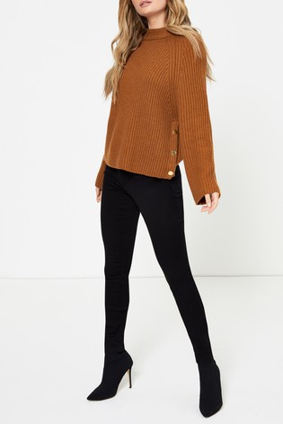 Topshop Brown Knitted Popper Side Jumper