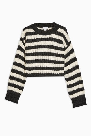 Topshop Knitted Stripe Crew Neck Jumper