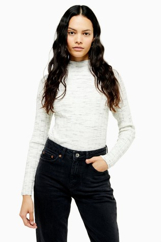 Topshop Tall Grey Knitted Marl Funnel Neck Top