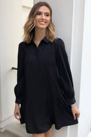 Lipsy Black Shirt Smock Dress