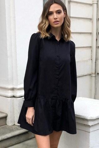 Lipsy Black Shirt Smock Dress