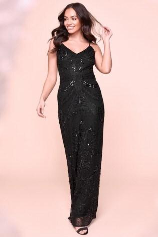 Sistaglam Black Embellished Maxi Dress