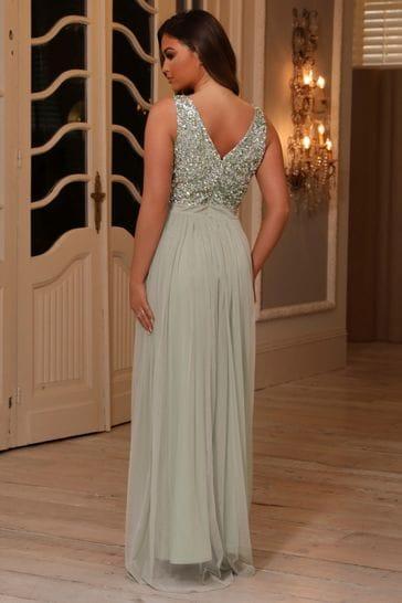 Sistaglam Grey V neck Maxi Dress With Sequin Top