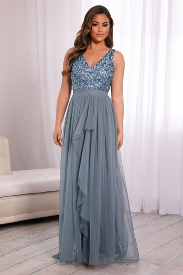 Sistaglam V neck Maxi Dress With Sequin Top