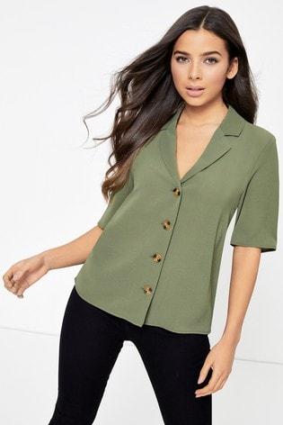 Only Khaki Button Through Shirt