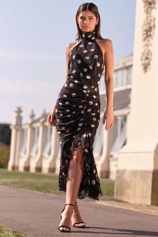 Lipsy Black Halterneck Backless High Low Dress