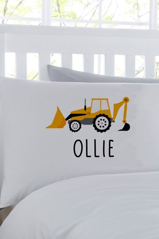Personalised Digger Pillowcase By Gift Collective