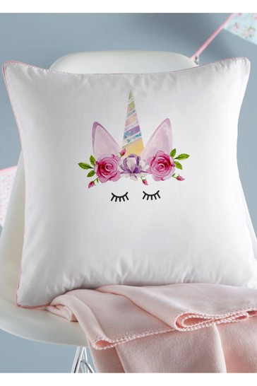 Personalised Unicorn Wreath Cushion By Gift Collective
