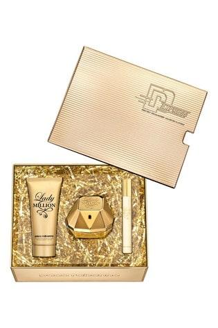 Paco Rabanne Lady Million Eau De Parfum 80ml and Body Lotion 100ml and Travel Spray 10ml Gift Set
