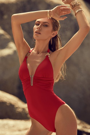 Lipsy Red Hardware Ruched Swimsuit
