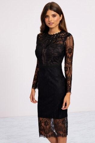 Lipsy Sleeved Mixed Lace Bodycon Midi Dress