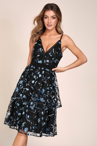 Lipsy VIP Sequin Embroiderd Tiered Skater Dress