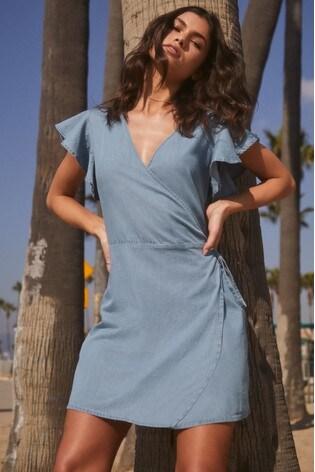 Lipsy Frill Sleeves Wrap Dress