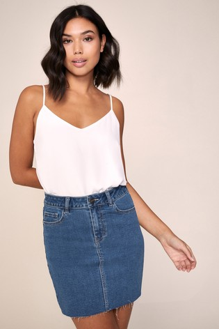 Lipsy Blue Denim Mini Skirt