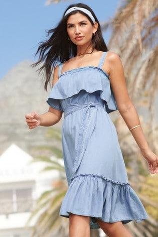 Lipsy Blue Tiered Waist Tie Dress