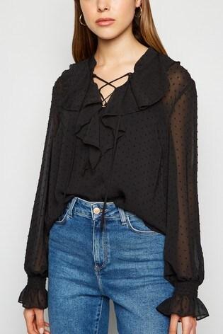 New Look Black Long Sleeve Frill Blouse
