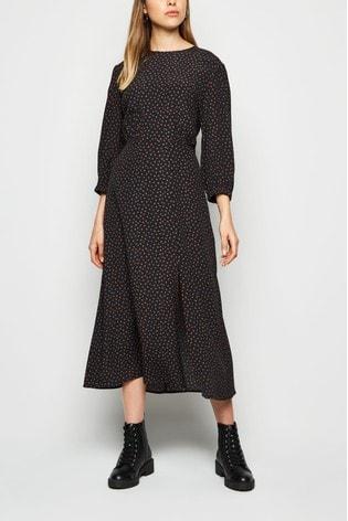 New Look Pattern Short Sleeve Split Midi Dress