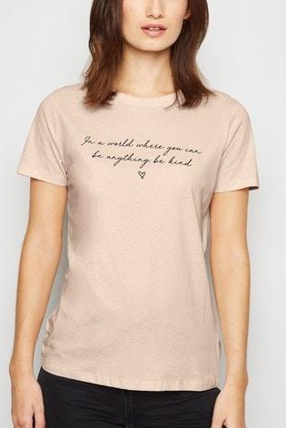 New Look 'In A World Be Kind' Slogan Tee