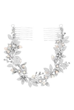 Jon Richard Bridal Textured Leaf And Pearl Double Hair Comb
