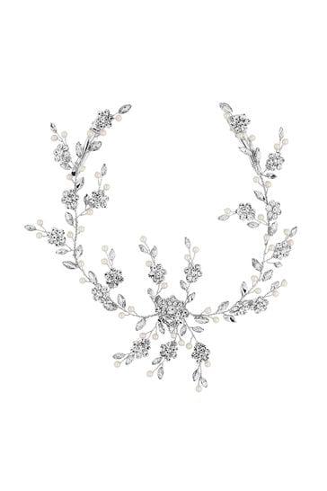 Jon Richard Bridal Crystal Flower And Pearl Hair Vine