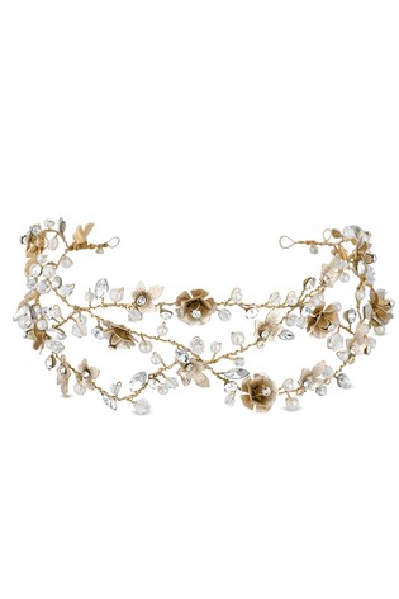 Jon Richard Gold Bridal Clear Crystal Floral Hair Vine