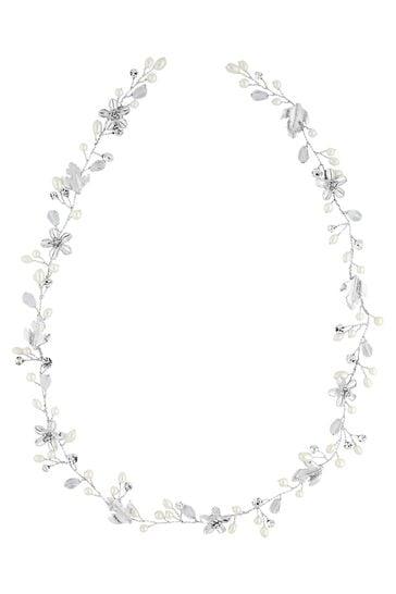Jon Richard Silver Bridal Crystal & Pearl Hair Vine