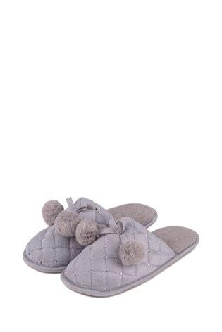 Totes Grey Rhinestone Mule Slipper