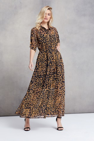Religion Brown Print Oberservation Maxi Shirt Dress