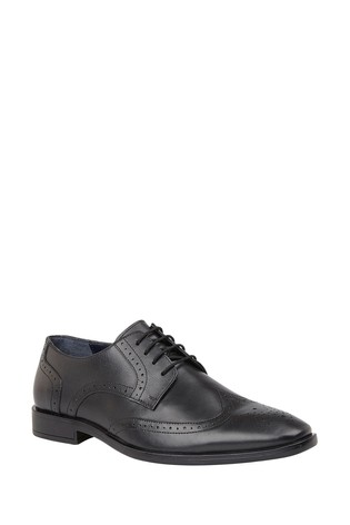 Lotus Black Leather Brogue Lace Formal Shoes