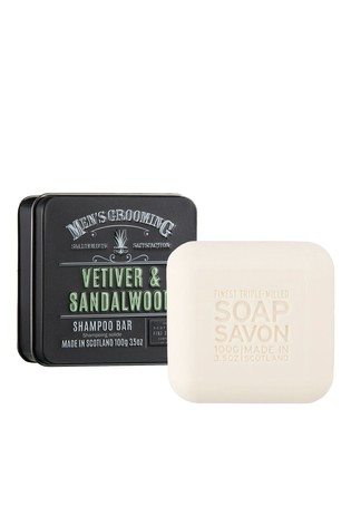 Scottish Fine Soaps Men's Grooming Vetiver & Sandalwood Shampoo Bar in a Tin 100g