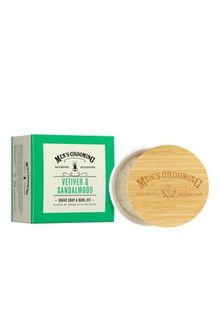 Scottish Fine Soaps Men's Grooming Vetiver & Sandalwood Shave Soap & Bowl Set 100g