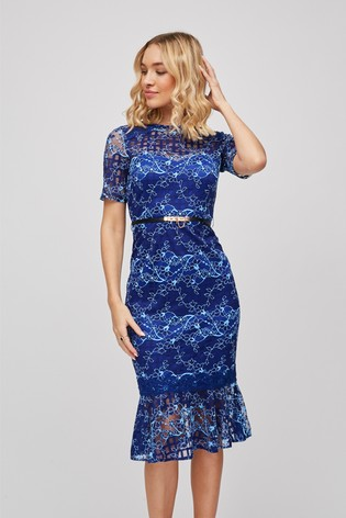 Paper Dolls Stripe Lace Midi Dress