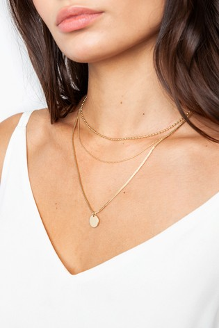 Freedom Disc And Chain Multi-Row Necklace