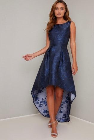 Chi Chi London Satin Printed Dip Hem Dress