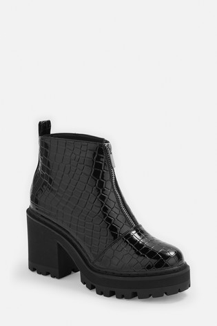 Missguided Entry Croc Zip Front Chunky Ankle Boot