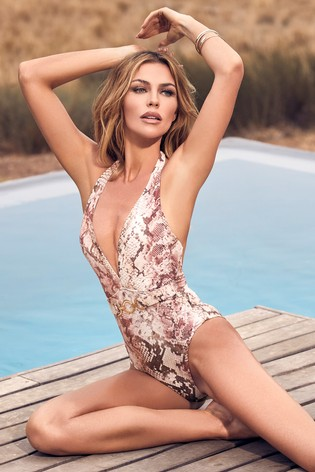 Abbey Clancy x Lipsy Printed Brown Plunge Swimsuit